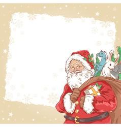 Christmas Santa Claus vintage postcard vector image