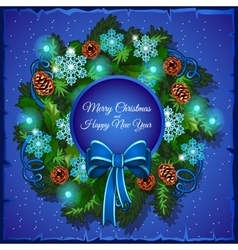 Christmas wreath of pine branches vector image