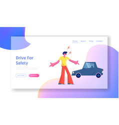 City traffic website landing page car accident on vector