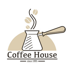 Coffee house isolated icon turk and arabica beans vector