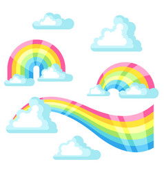 Collection of fantasy rainbow and clouds in sky vector