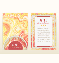Cover design with marbling marble texture vector