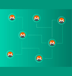 Cryptocurrency monero network concept background vector
