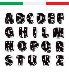 Cute funny childish italian alphabet font vector