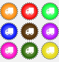 Delivery truck icon sign A set of nine different vector image