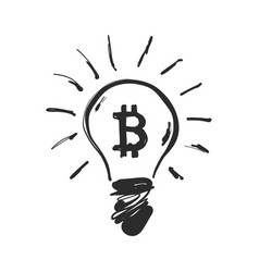 doodle hand drawn shining bitcoin consumes a lot vector image
