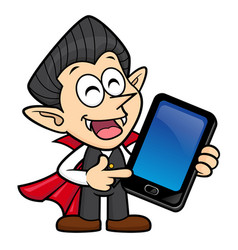 Dracula character is holding a smartphone vector