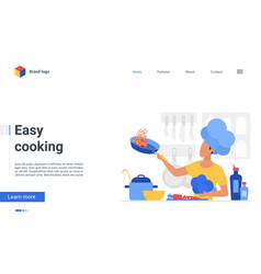 Easy cooking landing page chef cooks healthy food vector