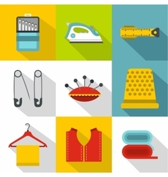 Embroidery kit icons set flat style vector