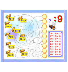 Exercises for kids with division number 9 vector