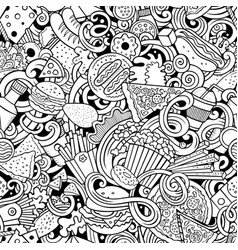 fastfood hand drawn doodles seamless pattern fast vector image
