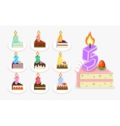 First birthday cake with candle vector