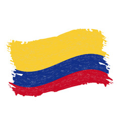 flag of colombia grunge abstract brush stroke vector image