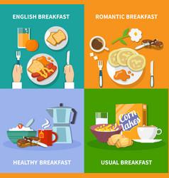 Flat 2x2 breakfast icons set vector