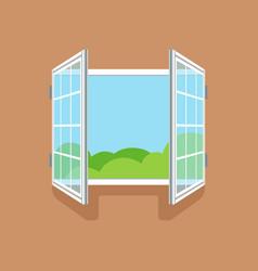 Flat open window on brown wall vector