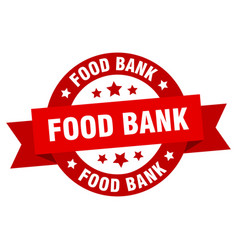 food bank ribbon food bank round red sign food vector image