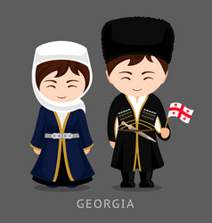 Georgians in national dress with a flag vector