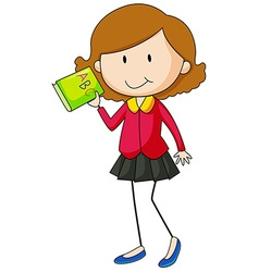 Girl holding green book vector image