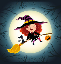 halloween background with cute little girl witch vector image