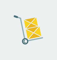 hand truck iconflat designshipping inventory vector image