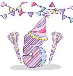Happy birthday celebration five years vector