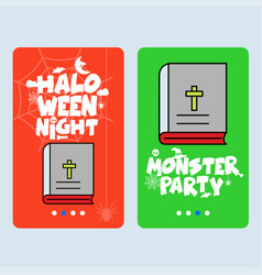 Happy halloween invitation design with holy bible vector