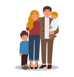 happy young family dad mom and two sons vector image