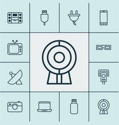 Hardware icons set with sputnik surveillance vector