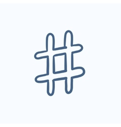 Hashtag symbol sketch icon vector image
