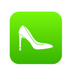high heel shoe icon digital green vector image