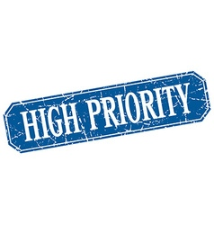 High priority blue square vintage grunge isolated vector