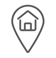 Home location line icon real estate and home vector
