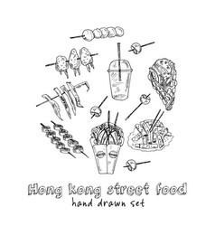 Hong kong street food menu doodle set vector