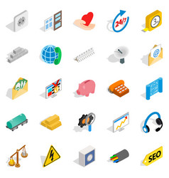 Industrial complex icons set isometric style vector