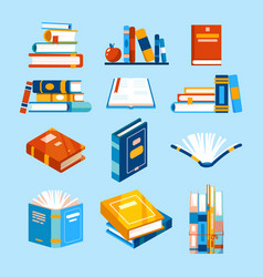isolated reading book icons opened book vector image