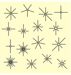 Line sparkling symbols black color vector