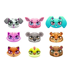 little cute cartoon animal faces vector image