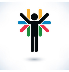 logotype people color man figure with many hands vector image