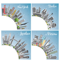 london berlin moscow and new york city skyline vector image