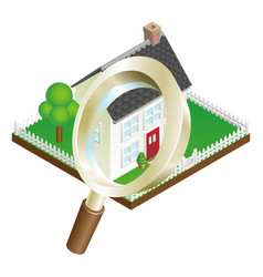Magnifying glass house search concept vector