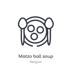 Matzo ball soup outline icon isolated line from vector