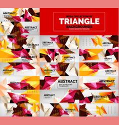 mega collection of triangle low poly backgrounds vector image