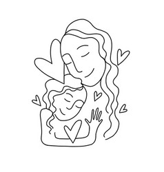 Mom and badaughter linear art vector