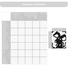 mouse black and white japanese crossword with vector image