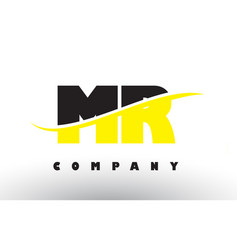 Mr m r black and yellow letter logo with swoosh vector
