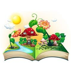 Mushroom house book vector image