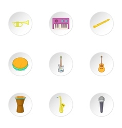 Musical tools icons set cartoon style vector