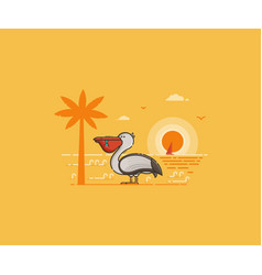 pelican on seaside background vector image