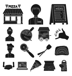 Pizza and pizzeria black icons in set collection vector