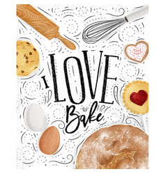 Poster love bake vector
